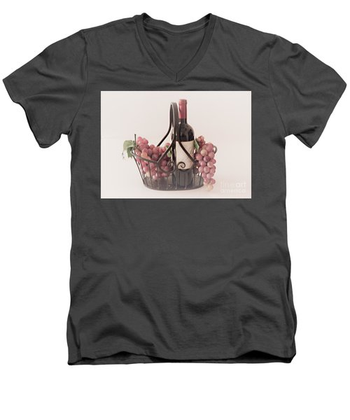 Basket Of Wine And Grapes Men's V-Neck T-Shirt by Sherry Hallemeier