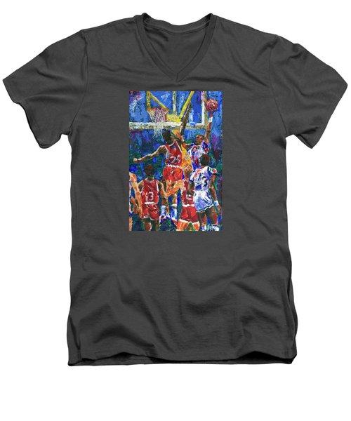 Basketball 1970s Men's V-Neck T-Shirt by Walter Fahmy