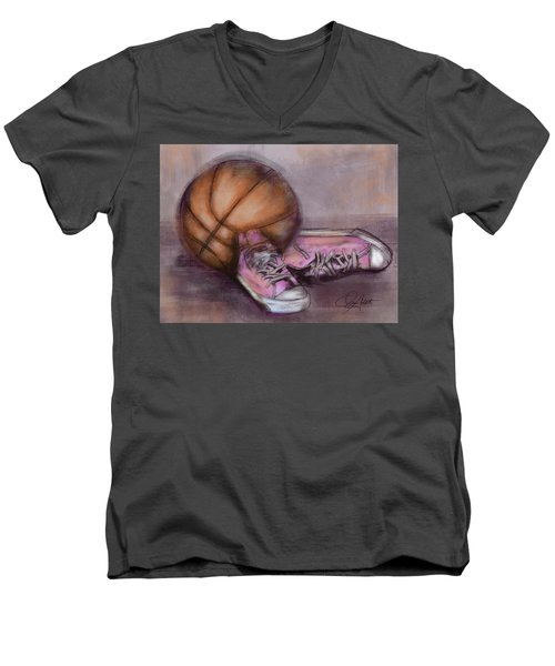 Basketball And Pink Shoes Men's V-Neck T-Shirt by Dani Abbott