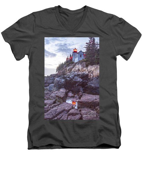 Bass Harbor Light Reflection Men's V-Neck T-Shirt