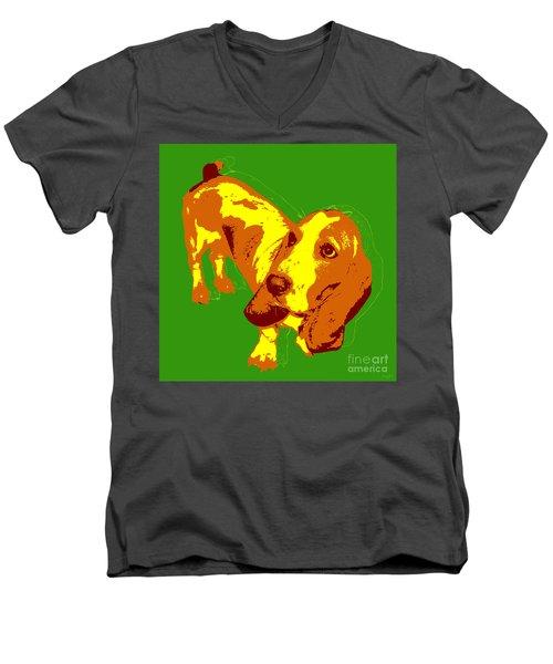 Men's V-Neck T-Shirt featuring the digital art Basset Hound Pop Art by Jean luc Comperat