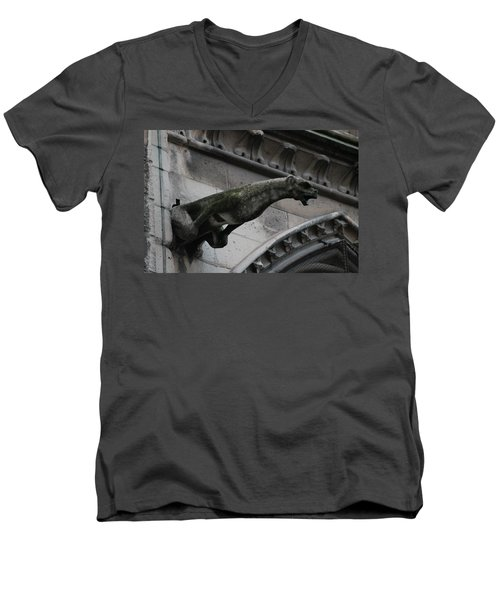 Men's V-Neck T-Shirt featuring the photograph Bat Eared Dog Gargoyle Of Notre Dame by Christopher Kirby
