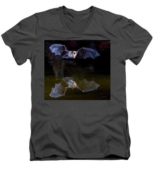 Bat Flying Over Pond Men's V-Neck T-Shirt