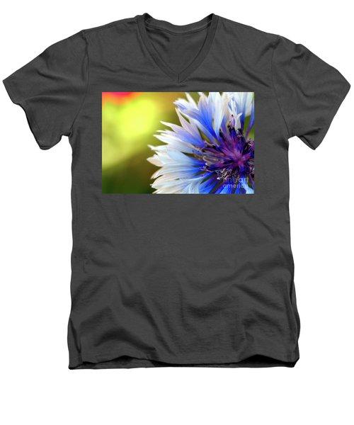 Batchelors Blue And White Button Men's V-Neck T-Shirt