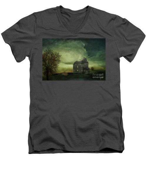 Men's V-Neck T-Shirt featuring the mixed media Bates Residence by Jim  Hatch