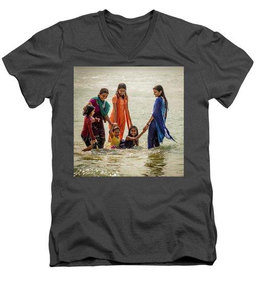 Bathing At Varkala II Men's V-Neck T-Shirt