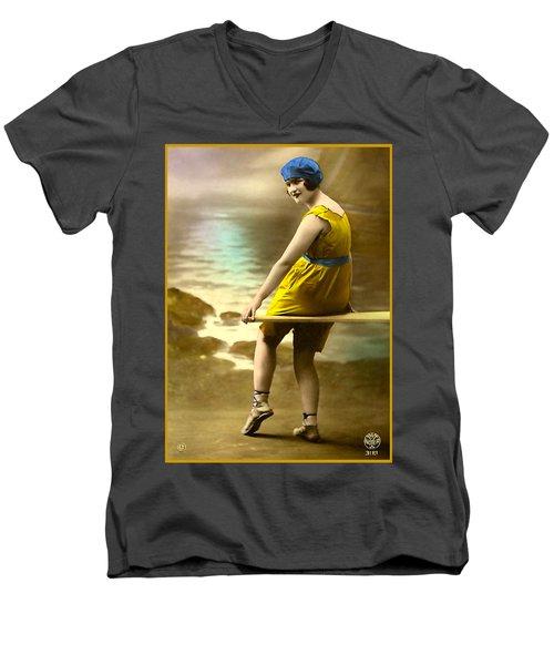 Bathing Beauty In Yellow  Bathing Suit Men's V-Neck T-Shirt