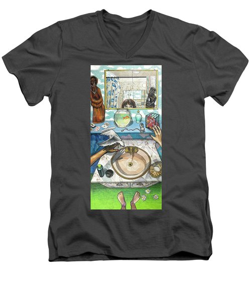 Bathroom Self Portrait Men's V-Neck T-Shirt by Bonnie Siracusa