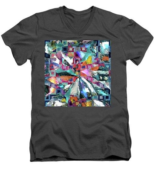 Batik Overlay Men's V-Neck T-Shirt