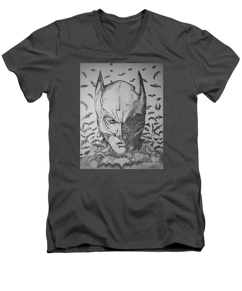 Batman Flight Men's V-Neck T-Shirt by Tamyra Crossley