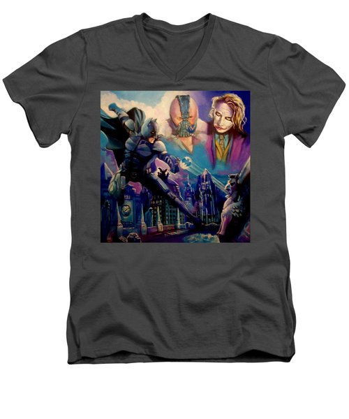 Men's V-Neck T-Shirt featuring the painting Batman by Paul Weerasekera