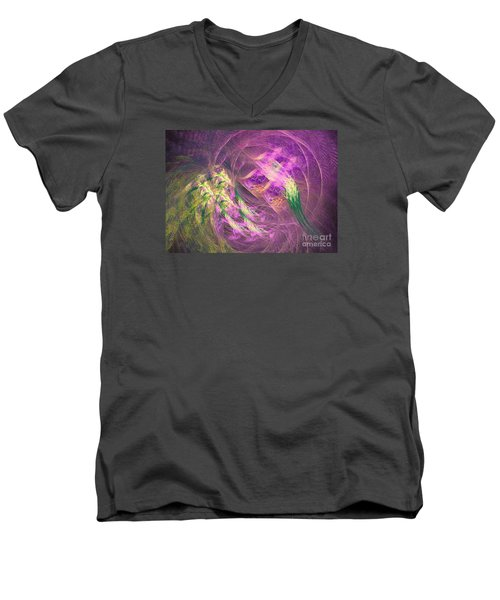 Men's V-Neck T-Shirt featuring the digital art Batman by Sipo Liimatainen