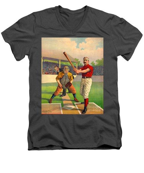 Batter Up 1895 Men's V-Neck T-Shirt by Padre Art