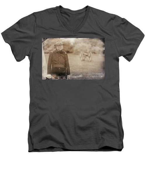 Battery D Men's V-Neck T-Shirt by Randall Cogle
