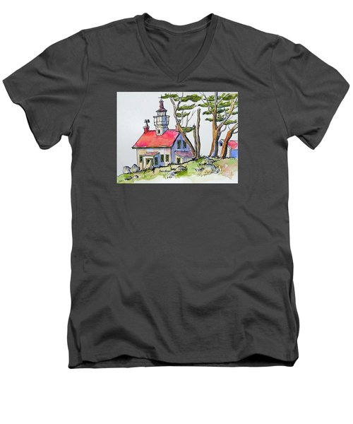 Battery Point Lighthouse Men's V-Neck T-Shirt by Terry Banderas