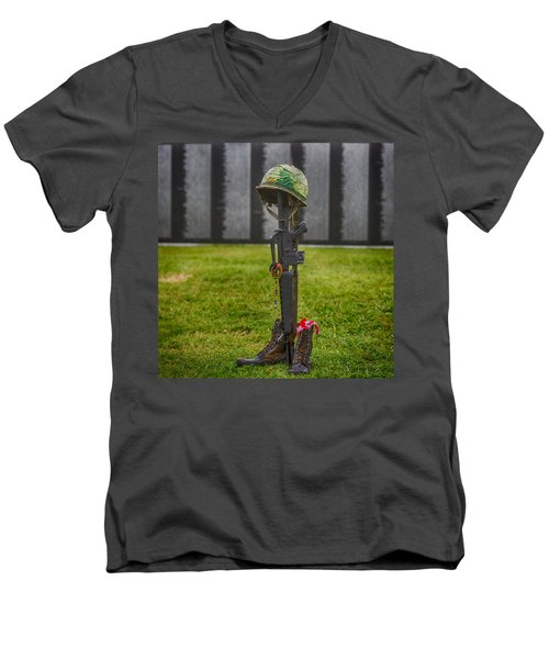 Battle Field Cross At The Traveling Wall Men's V-Neck T-Shirt by Paul Freidlund