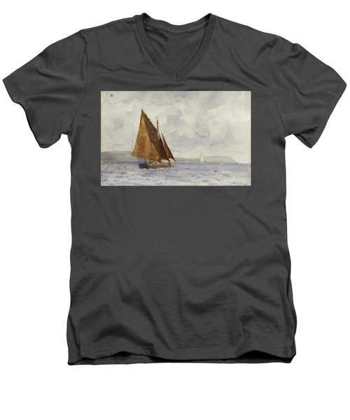 Men's V-Neck T-Shirt featuring the painting Bawley Running Up The Coast by Henry Scott Tuke