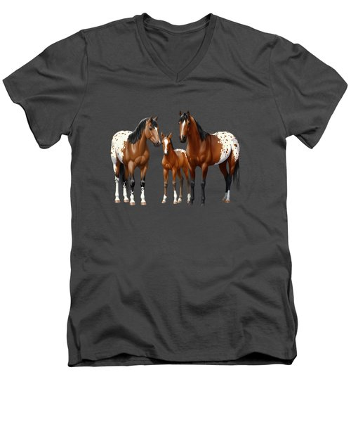 Bay Appaloosa Horses In Winter Pasture Men's V-Neck T-Shirt by Crista Forest