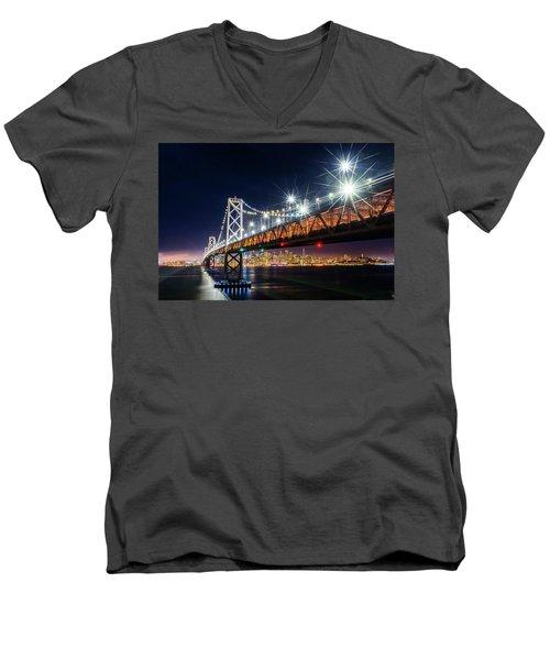 Bay Bridge And San Francisco By Night 5 Men's V-Neck T-Shirt