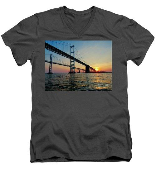 Bay Bridge At Sunset  Men's V-Neck T-Shirt