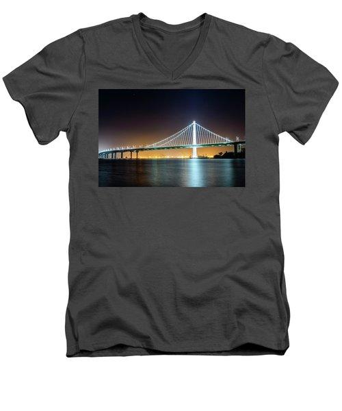 Bay Bridge East By Night 1 Men's V-Neck T-Shirt