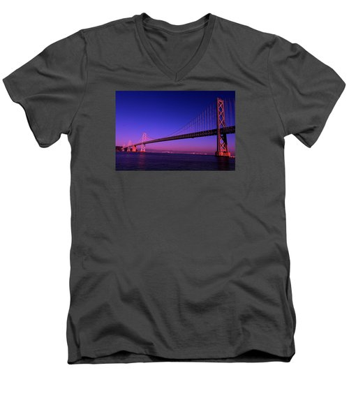 Men's V-Neck T-Shirt featuring the photograph Bay Bridge Sunset by Linda Edgecomb