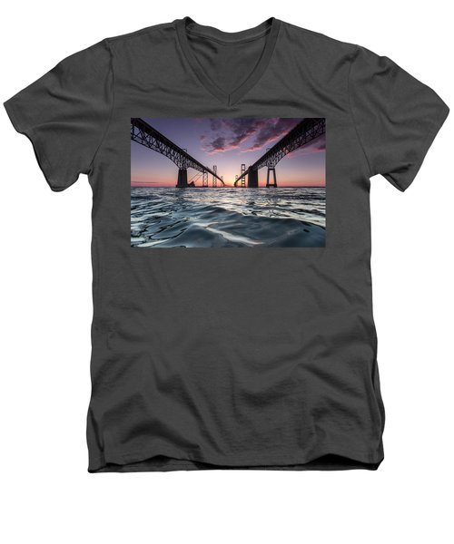 Bay Bridge Twilight Men's V-Neck T-Shirt