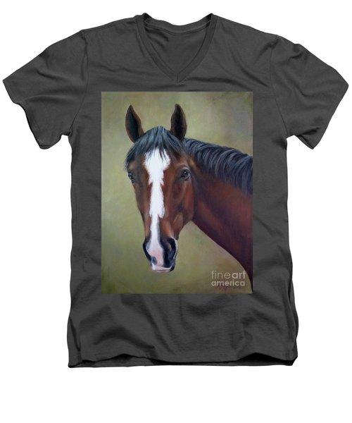 Bay Thoroughbred Horse Portrait Ottb Men's V-Neck T-Shirt