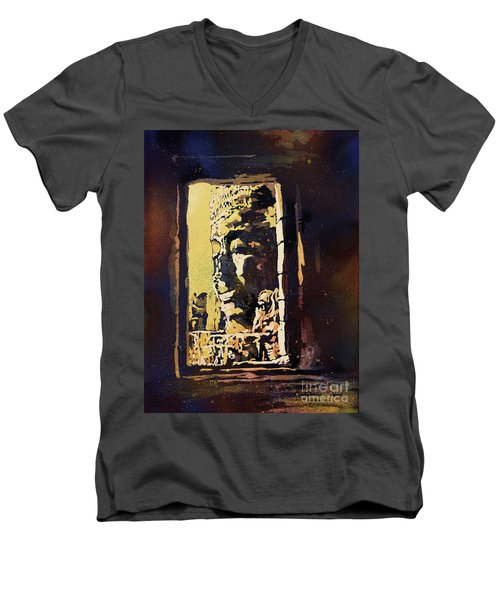Men's V-Neck T-Shirt featuring the painting Bayon IIi- Cambodian Ruins, Angkor Wat by Ryan Fox