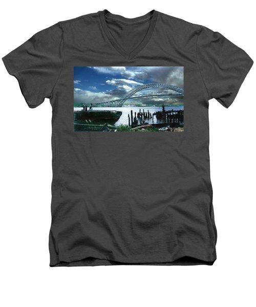 Bayonne Bridge Men's V-Neck T-Shirt by Steve Karol