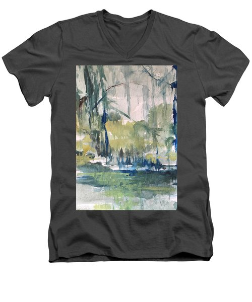 Bayou Blues Abstract Men's V-Neck T-Shirt by Robin Miller-Bookhout