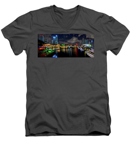 Bayside Miami Florida At Night Under The Stars Men's V-Neck T-Shirt by Justin Kelefas