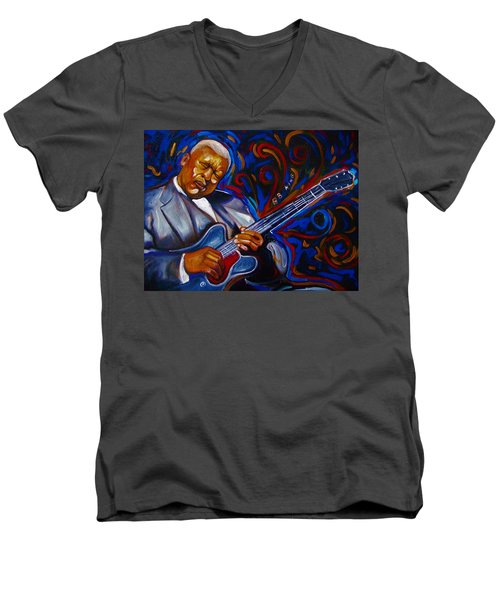 Men's V-Neck T-Shirt featuring the painting b.b KING by Emery Franklin
