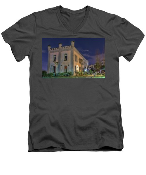 Men's V-Neck T-Shirt featuring the mixed media B.c.penitentiary by Jim  Hatch