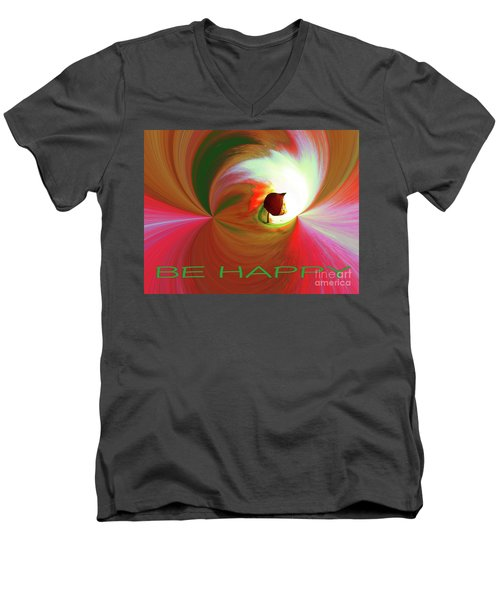 Be Happy, Red-rose With Physalis Men's V-Neck T-Shirt