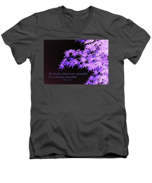 Be Kind Men's V-Neck T-Shirt by Susan Lafleur
