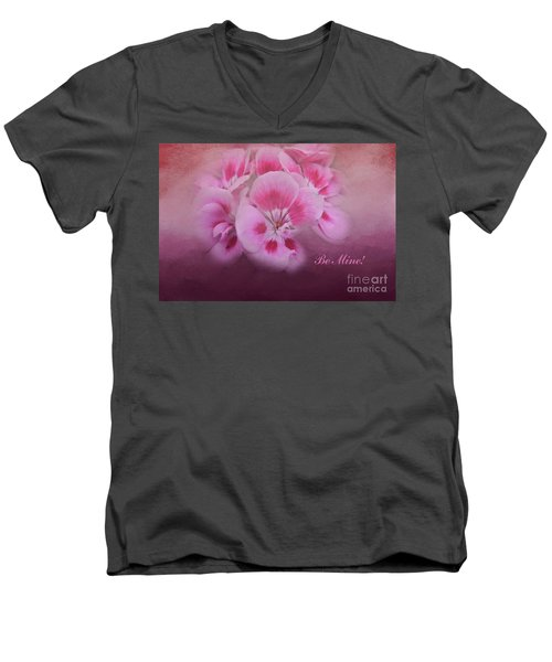 Be Mine Men's V-Neck T-Shirt by Joan Bertucci