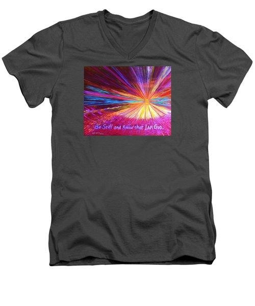 Be Still Men's V-Neck T-Shirt by Jeanette Jarmon