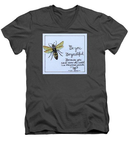 Be You Men's V-Neck T-Shirt by Elizabeth Robinette Tyndall