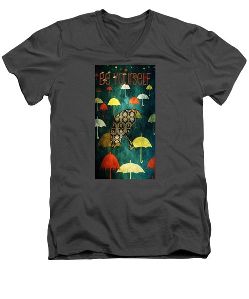 Be Yourself - Large Format Men's V-Neck T-Shirt by Bonnie Bruno