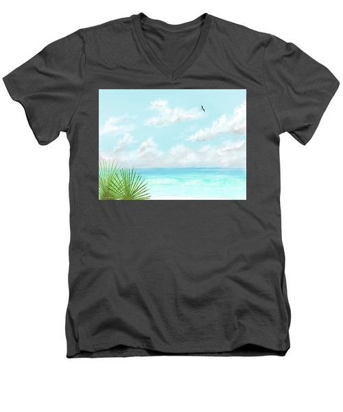 Men's V-Neck T-Shirt featuring the digital art Beach And Palms by Darren Cannell
