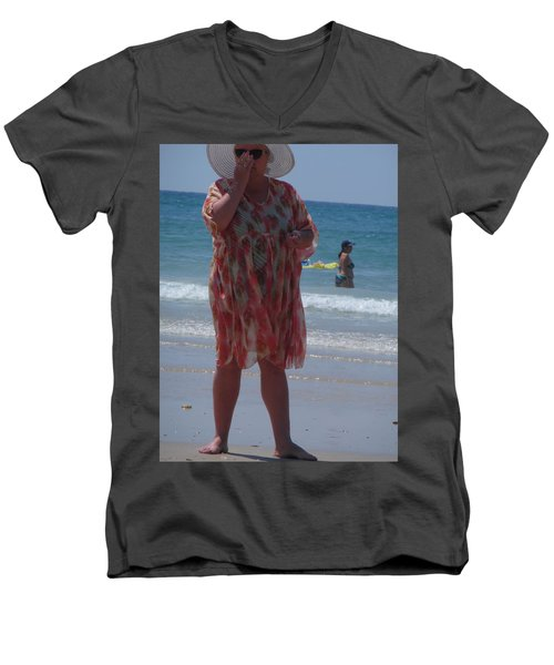 Men's V-Neck T-Shirt featuring the painting Beach Beauty by Esther Newman-Cohen