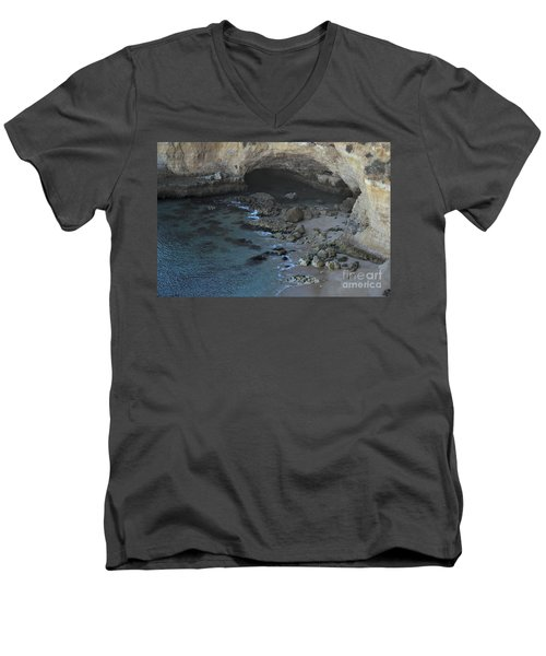 Beach Cave From The Cliffs In Malhada Do Baraco Men's V-Neck T-Shirt by Angelo DeVal