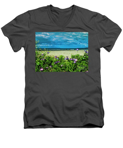 Beach Daisies Men's V-Neck T-Shirt by Karen Lewis
