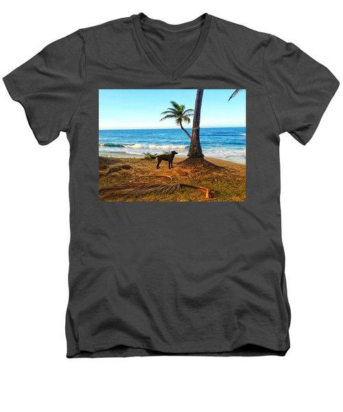 Beach Dog  Men's V-Neck T-Shirt