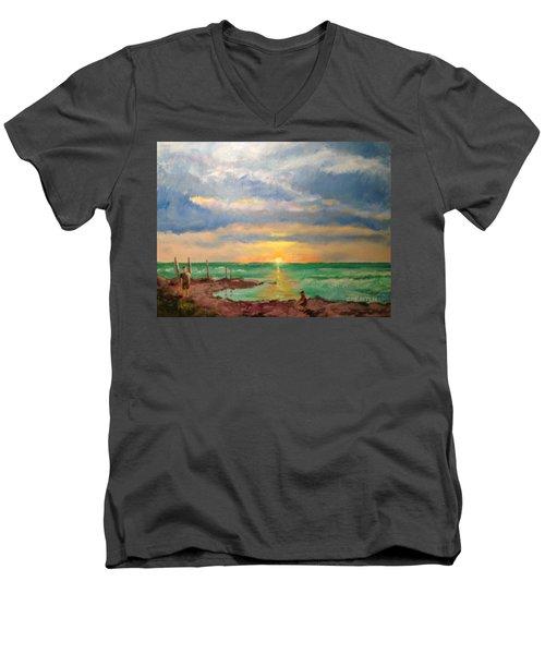 Beach End Of Day Men's V-Neck T-Shirt
