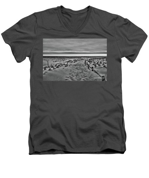 Men's V-Neck T-Shirt featuring the photograph Beach Entry In Black And White by Paul Ward