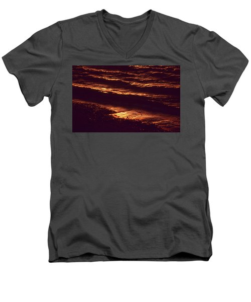 Men's V-Neck T-Shirt featuring the photograph Beach Fire by Laurie Stewart