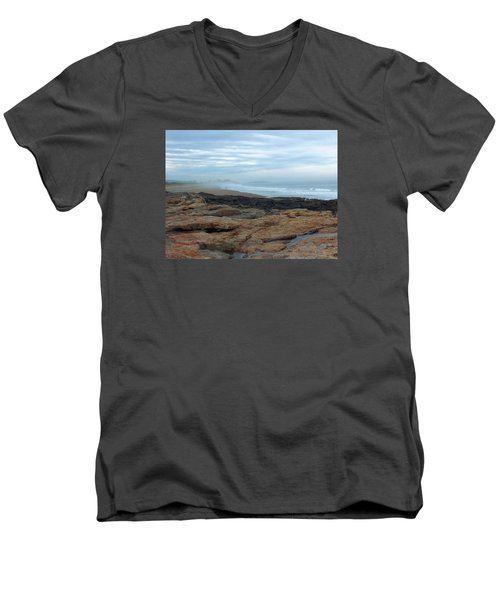 Men's V-Neck T-Shirt featuring the photograph Beach by Gene Cyr