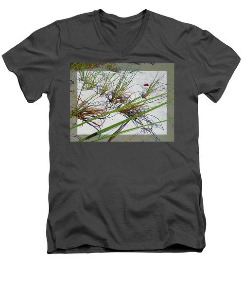Beach Grass Men's V-Neck T-Shirt by Ginny Schmidt